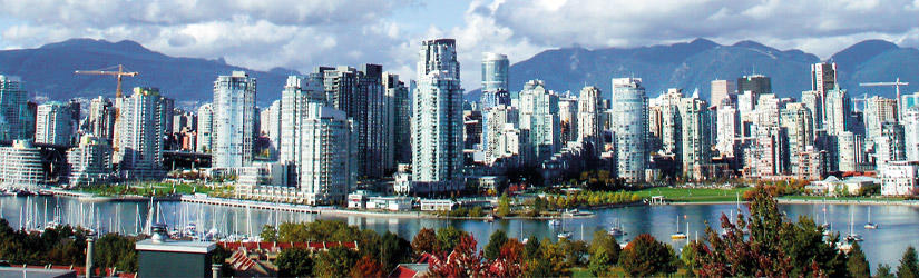 Skyline of Vancouver with skyscrapers