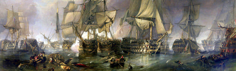 Painting of HMS Victory during the Battle of Trafalgar